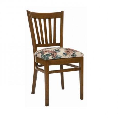 Yatay Çıtalı Çiçek Desenli Beyaz Kumaşlı Ahşap Sandalye - rsa68