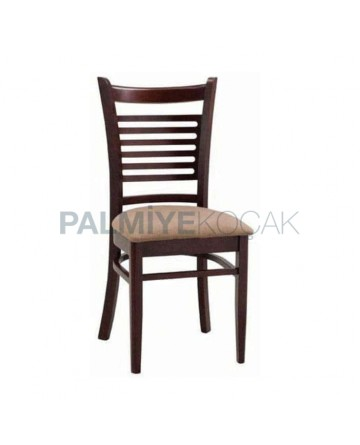Yatay Çıtalı Koyu Eskitme Bej Döşemeli Sandalye