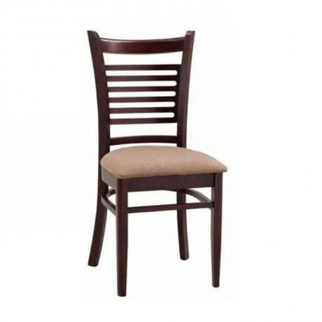 Yatay Çıtalı Koyu Eskitme Bej Döşemeli Sandalye - rsa72