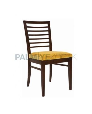 Yatay Çıtalı Koyu Eskitme Sarı Kumaş Minderli Sandalye