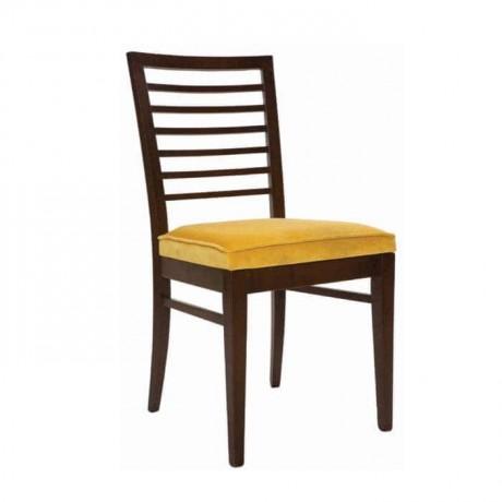 Yatay Çıtalı Koyu Eskitme Sarı Kumaş Minderli Sandalye - rsa43