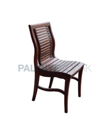 Horizontal Stick Rustic Wood Restaurant Chair