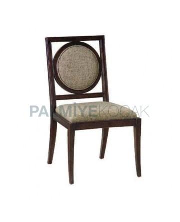 Round Backrest Dark Wooden Rustic Home Chair