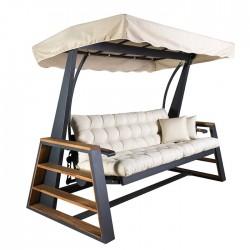 Iroko Wooden Armrest With Aluminum Skeleton 3 Person Swing