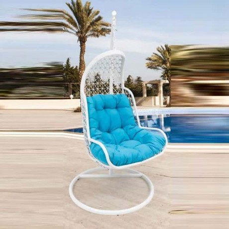 White Rattan Braided Single Blue Fabric Swing - slk600
