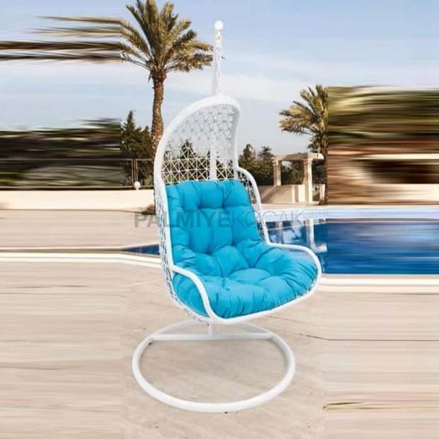 White Rattan Braided Single Blue Fabric Swing