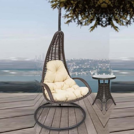 Brown Rattan Single Swing - slk601