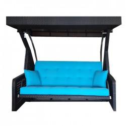 Black Rattan Knitted Blue Fabric Triple Garden Swing