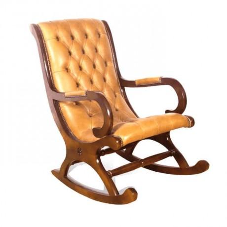 Taba Deri Döşemeli Kapitoneli Sallanır Sandalye - sk02