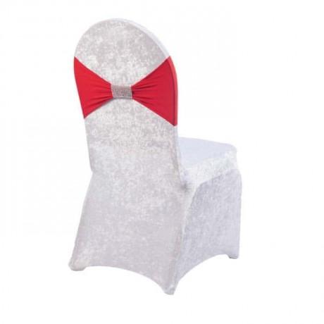 Kırmızı Kuşaklı Streç Kadife Sandalye Giydirme - so319