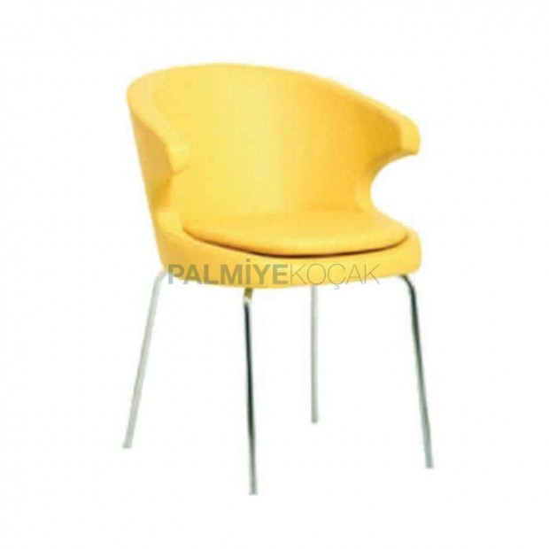 Sarı Deri Döşemeli Petli Kollu Poliüretan Sandalye