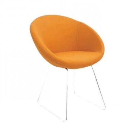 Sarı Deri Döşemeli Poliüretan Krom Ayaklı Sandalye - psd202