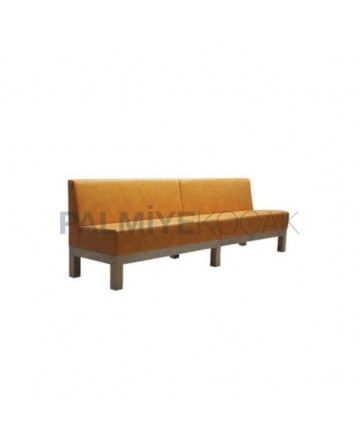 Yellow Leather Fabric Cafe Couch