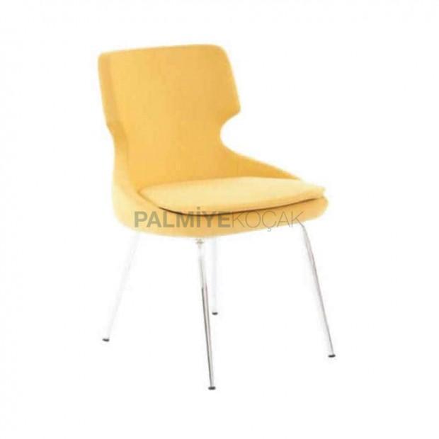 Sarı Derili Krom Ayaklı Poliüretan Sandalye