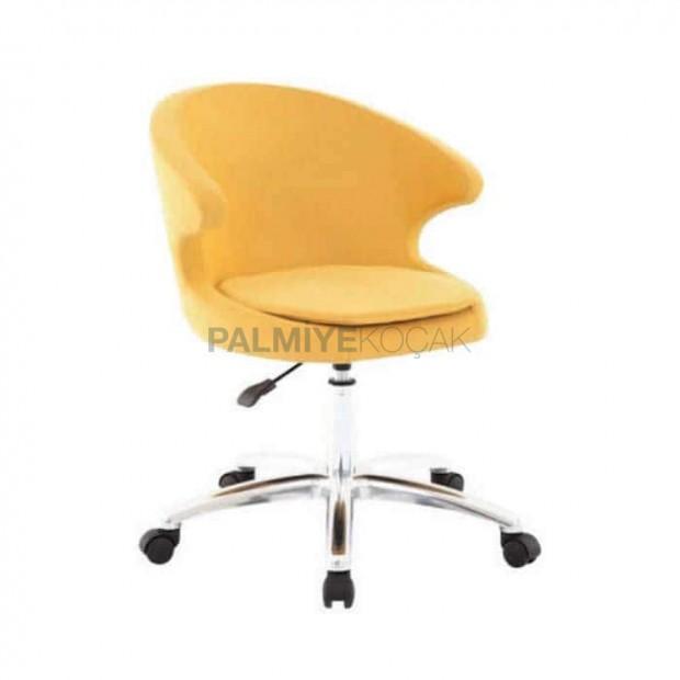 Sarı Derili Krom Ayaklı Tekerlekli Sandalye
