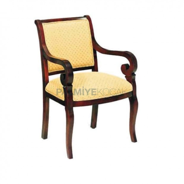 Rustic Armchair with Yellow Upholstered