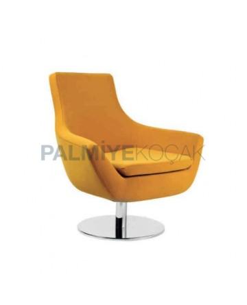 Yellow Fabric Upholstered Round Metal Leg Polyurethane Seat