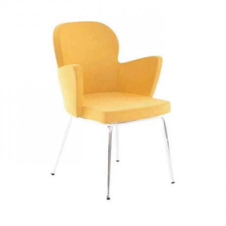 Sarı Kumaşlı Boru Ayaklı Poliüretan Kollu Sandalye - psd222