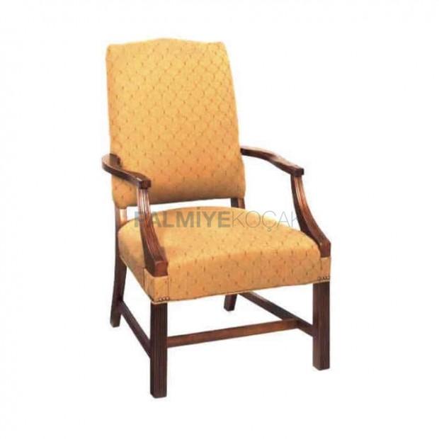 Sarı Kumaşlı Boyalı Kollu Sandalye