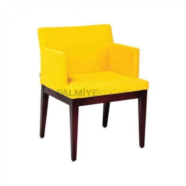 Sarı Kumaşlı Ceviz Boyalı Poliüretan Sandalye