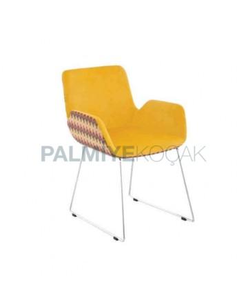 Yellow Fabric Bar Metal Leg Polyurethane Chair