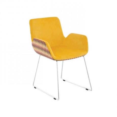 Sarı Kumaşlı Çubuk Metal Ayaklı Poliüretan Sandalye - psd246