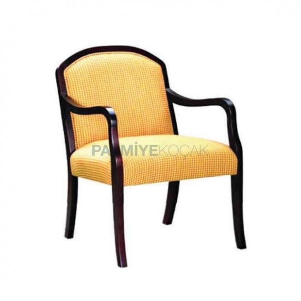 Yellow Fabric Dark Antique Armchair