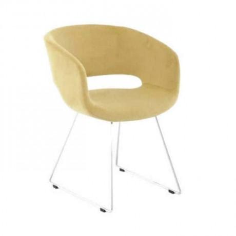 Sarı Kumaşlı Metal Çubuk Ayaklı Kollu Sandalye - psd278