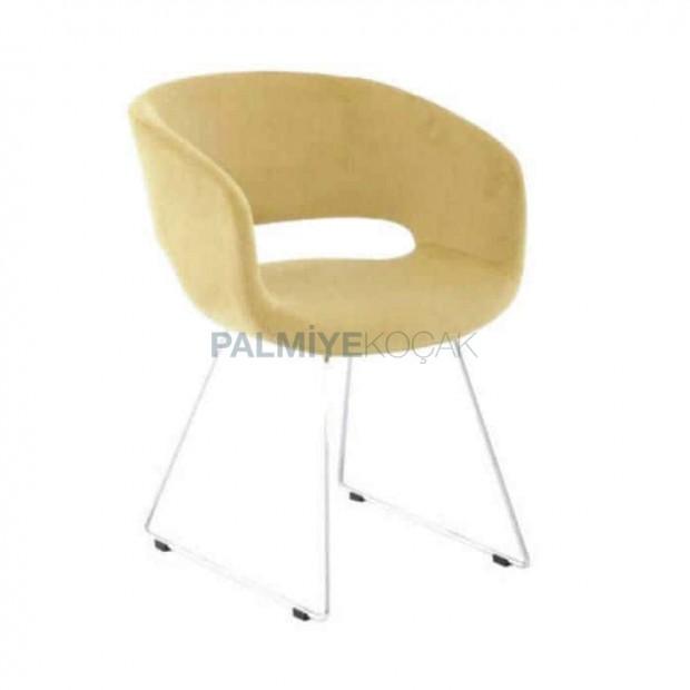 Sarı Kumaşlı Metal Çubuk Ayaklı Kollu Sandalye