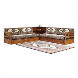 Wood Carpet Pattern Cushioned Oriental Corner Sofa