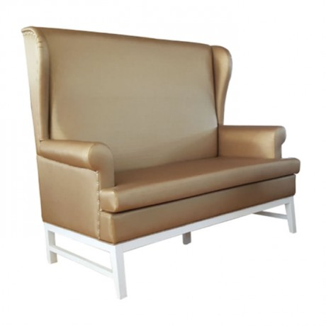 Golden Colored Leather Upholstered Cafe Booths - sed107