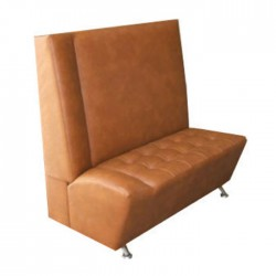 Beige Leather Upholstered Metal Leg Booths