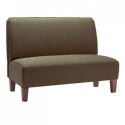 Beige Leather Upholstered Cafe Couch