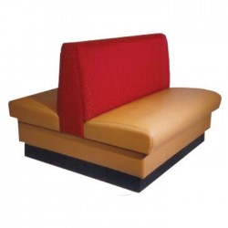 Beige Red Fabric Upholstered Double Sided Cafe Booths
