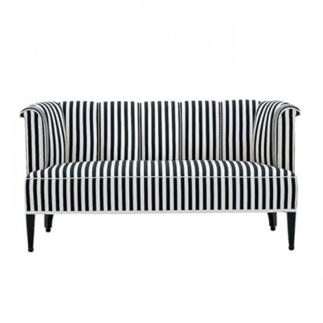 Striped Fabric Black and White Restaurant Couch - sed17