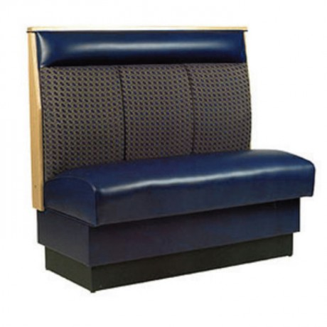 Gray Fabric Blue Leather Upholstered Booths - sed103