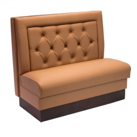 Mustard Colored Leather Upholstered Cafe Booths - sed100