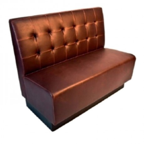 Brown Leather Upholstered Hotel Restaurant Couch - sed104