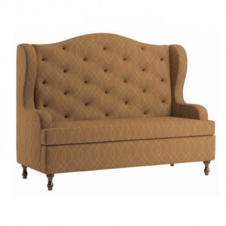 Quilted Beige Fabric Upholstered Hotel Booths - sed06