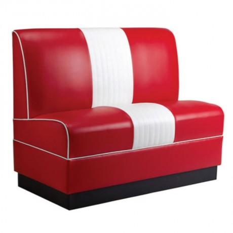 Kırmızı Beyaz Deri Döşemeli Cafe Sediri - sed37