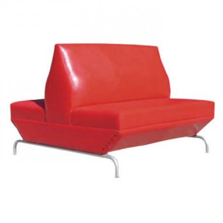 Kırmızı Deri Döşemeli Metal Ayaklı Sedir - sed321