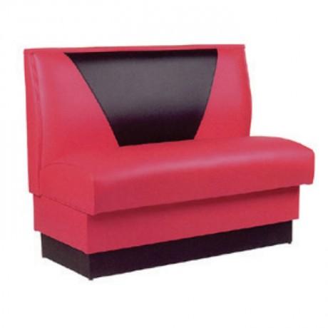 Kırmızı Siyah Deri Kaplı Cafe Kanepesi - sed65