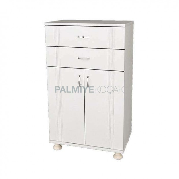 White Lacquered Painted Two-Drawer High Restaurant Service Cabinet