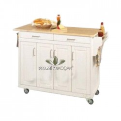 Four-Door White Lacquered Service Cabinet