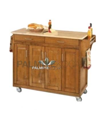 Granite Workbench Massive Pan Four-Door Wheeled Service Cabinet