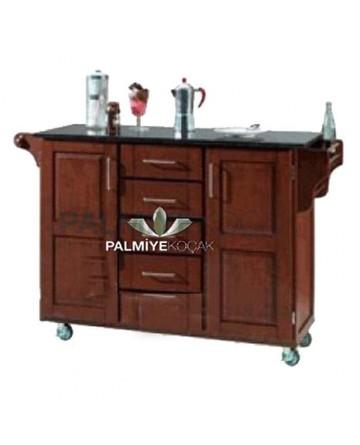 Dark Wood Painted Wheel Service Cabinet