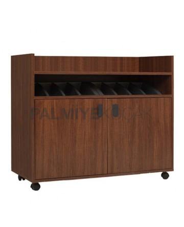 Dark Walnut Mdflam Restaurant Service Cabinet