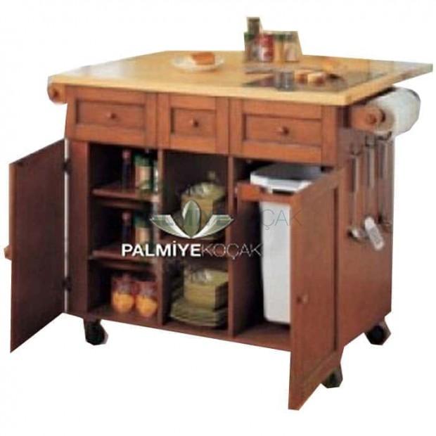 Three-Door Wooden Service Cabinet with Drawer