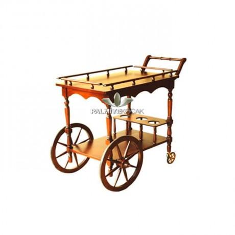 Tornalı Ahşap Tekerlekli Servis Arabası - sva01