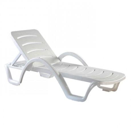 Beyaz Plastik Kollu Şezlong - str7980